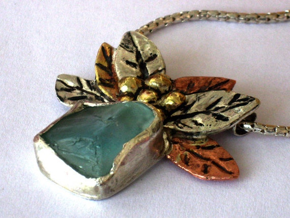 Aqua Sea Glass Necklace, Silver Glass Necklace, Blue Glass Necklace,  Glass Flower Necklace, Ocean Blue Necklace, Silver Seaglass Bib