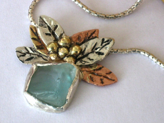 Aquamarine Sea Glass and silver necklace with copper and brass