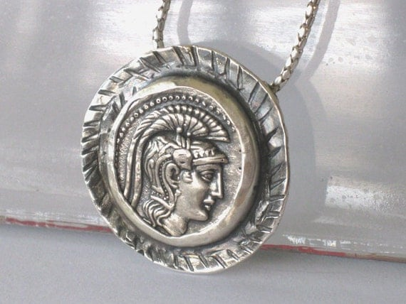 Silver Coin necklace with Goddess Athena Reproduction coin jewelry necklace