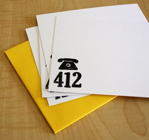 Pittsburgh, PA - 412 Area Code Stationery - Gocco Screen Printed - Set of 5