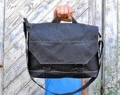 Waxed Canvas Messenger Bag - The Leonard in Slate Grey