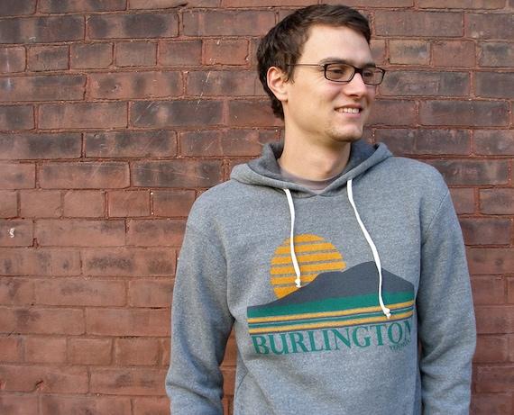 burlington vermont vintage inspired hoodie