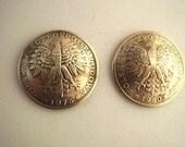 Coin cufflinks-Tiny Golden Polish Eagle cufflinks-handmade in the USA-free shipping
