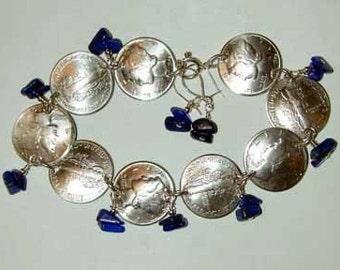 Coin bracelet-Mercury Dime bracelet with lapis-free earrings-free shipping
