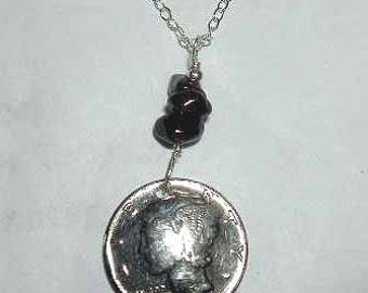Coin necklace-Garnet and Mercury Dime necklace