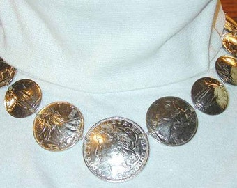 Coin Jewelry-Antique US Coin necklace w/ Morgan Dollar