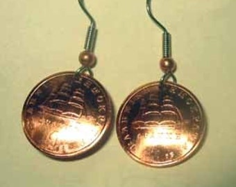 Coin earrings-Greek Copper Ship earrings-nicely domed-free shipping