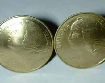 Coin cufflinks-French Golden coin cufflinks-handmade in the USA-free shipping