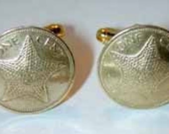 Coin cufflinks-Golden Starfish cufflinks- nicely domed-free shipping