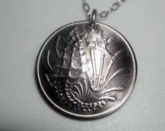 Coin necklace- Seahorse necklace-free shipping