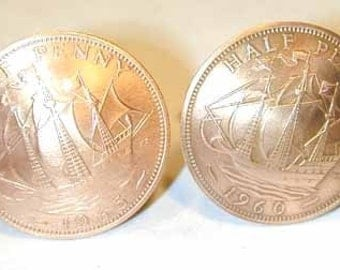 Coin Jewelry British half penny cuff links-ships-free shipping