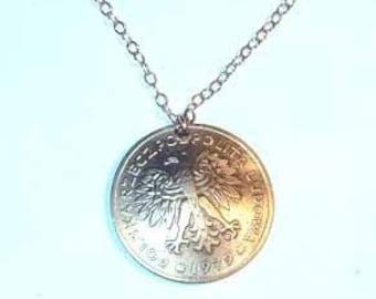 Coin necklace-Gorgeus Polish Eagle necklace-free shipping
