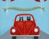 Volkswagen Birthday Original Cat Folk Art Painting