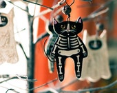 Skeleton Cat Halloween Clay Folk Art Ornament - KilkennycatArt