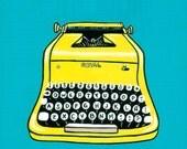 Yellow Vintage Typewriter Original Folk Art Painting