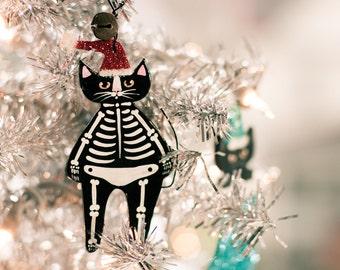 Christmas Skeleton Cat Clay Folk Art Ornament