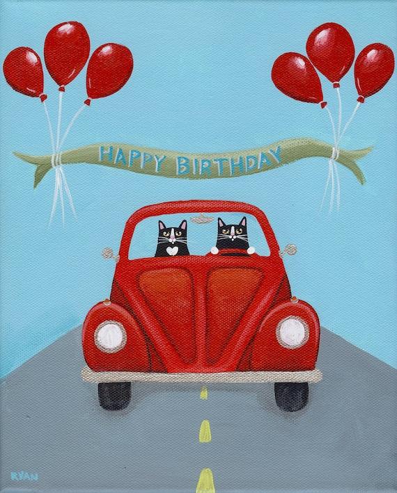 Volkswagen Birthday Original Cat Folk Art Painting