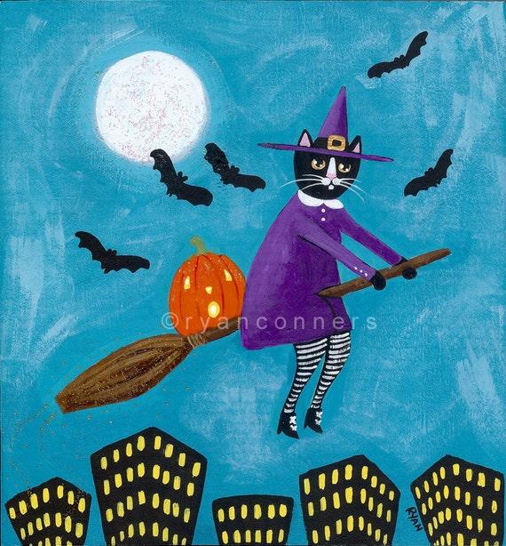 Halloween Witch Cat Original Folk Art Painting