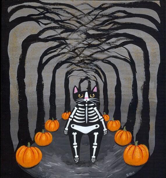 Skeleton Halloween Cat Original Folk Art Painting