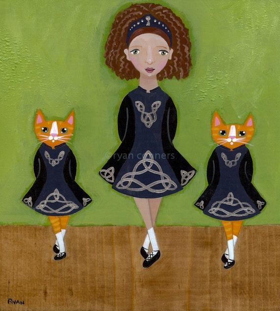Irish Step Dancers Original Cat Folk Art Painting