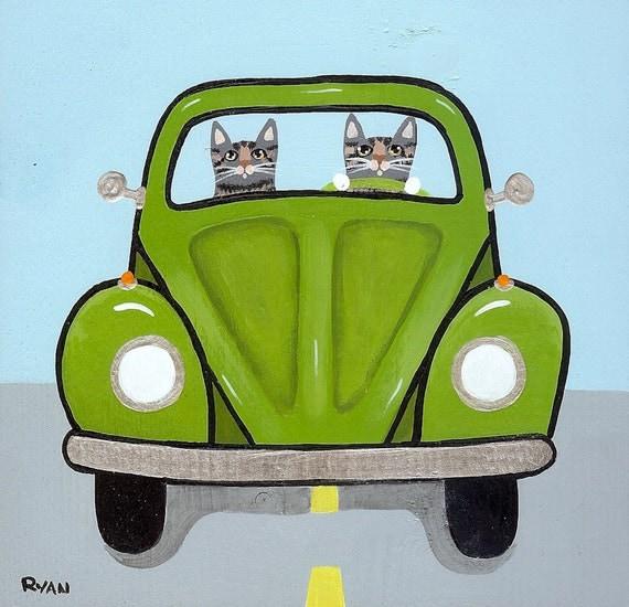 Volkswagen Road Trip Cats Original Folk Art Painting
