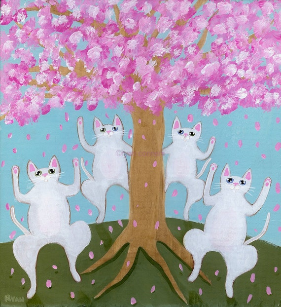 Spring Celebration Cats Original Folk Art Painting