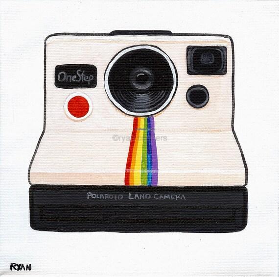 The Polaroid Camera Original Folk Art Painting
