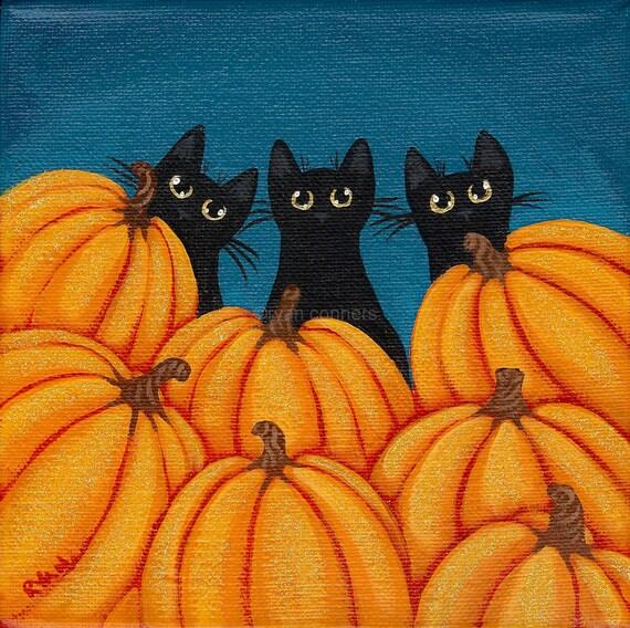 Halloween Black Cats and Pumpkins Original Folk Art Painting