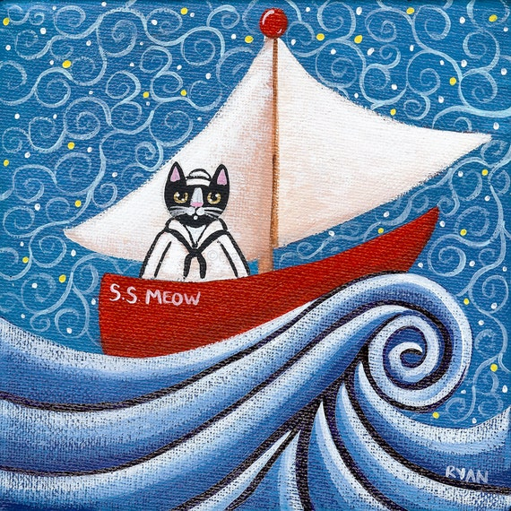 Sailor Kitty on a Boat Original Folk Art Painting