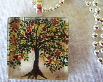Tree of Life original Watercolor Art Glass Tile Necklace