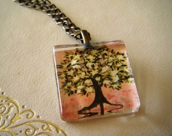 Fragrant Magnolia Tree Original Watercolor  Art Glass Tile Necklace- now in antiqued brass.