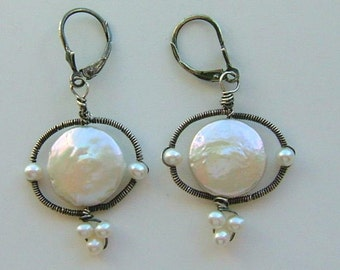 BellaFlora Coin-Pearls, Oxidized Coiled Sterling Silver Lever-Back Earrings