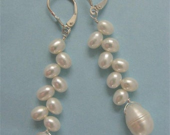 FernAdele Leaves and Buds Lustrous Fresh-Water Pearls Sterling Silver Lever Backs Earrings