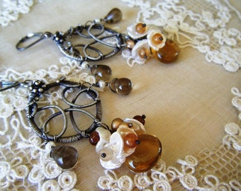 JulianaHope - Wire Wrapped Swirls and Curls, Beer Quartz, Hessonite Garnet, Smokey Quartz and Fresh-Water Pearls Earrings