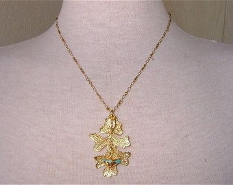 GoldaBlu Necklace 24K Gold-dipped Preserved Real Leaf and Turquoise Nugget Necklace