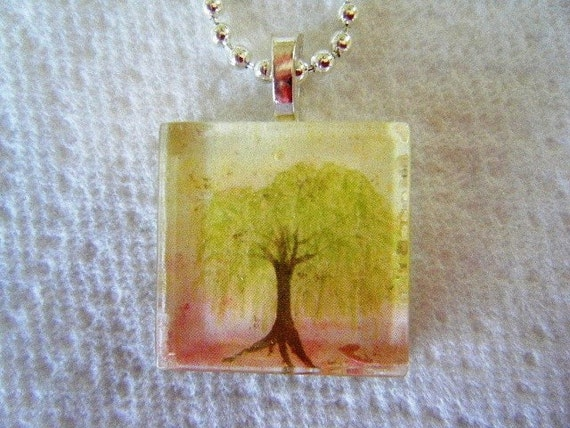 Willow Tree original watercolor art glass tile necklace