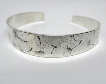 Sterling Silver Floating Dandelion Cuff Bracelet