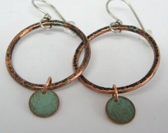 Copper Circle Drop Earrings