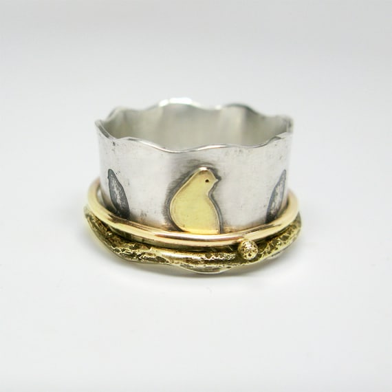 Birds on a Wire Sterling Silver and 14k Gold Spinner Ring with 14k Gold Branch