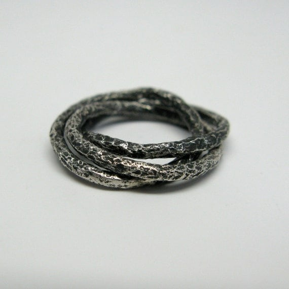chunky sterling silver vine rolling ring by janiceartjewelry