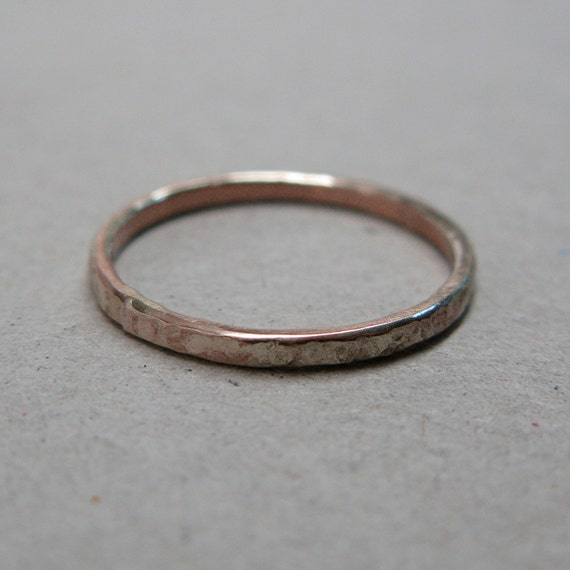 14k Forged Red Gold Nugget Wedding Ring Band