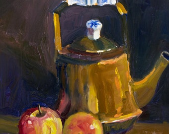 """Original Oil Painting of """"Teapot and Apples"""""""