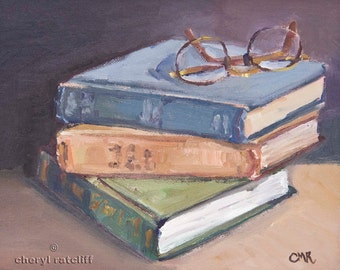 """Oil painting of Old Books and Glasses """"Old Books"""""""