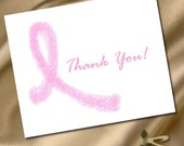 Breast Cancer Awareness Pink Ribbon Thank You Cards - Set of 20
