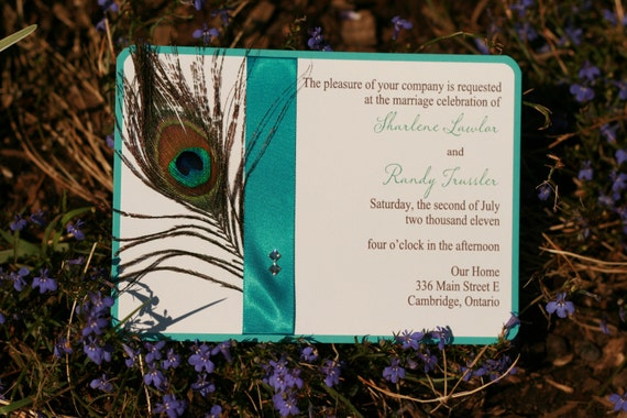 Wedding Invitation - Peacock Feather, Ribbon, and Crystals - SAMPLE