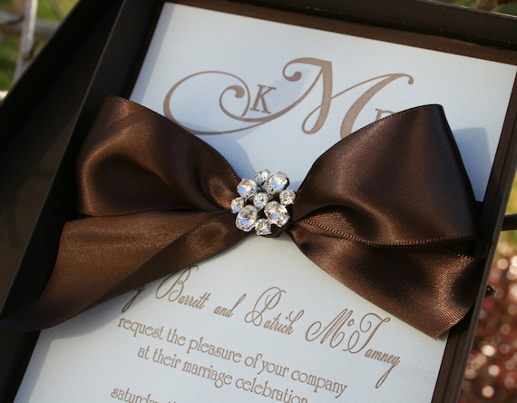 Wedding Invitation - Boxed Letterpress with Crystal Brooch & Satin Ribbon - SAMPLE Staccato Signature Collection