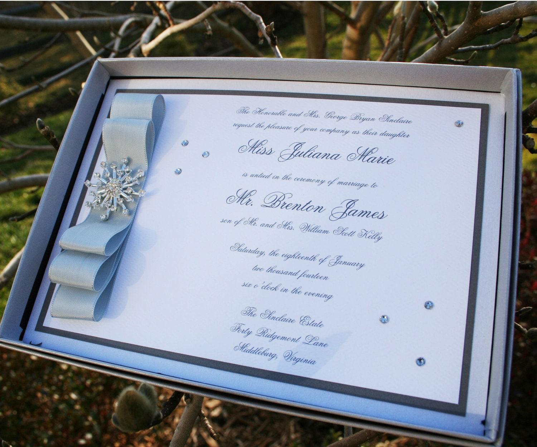 Winter Wedding Invitation Wording: Winter Wonderland Snowflake Boxed Wedding Invitation SAMPLE