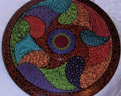 Large Lazy Susan hand painted one of a kind