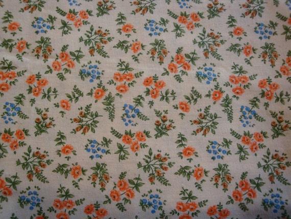 Vintage Fabric Flower Bouquet Fern Floral 1.5 Yards