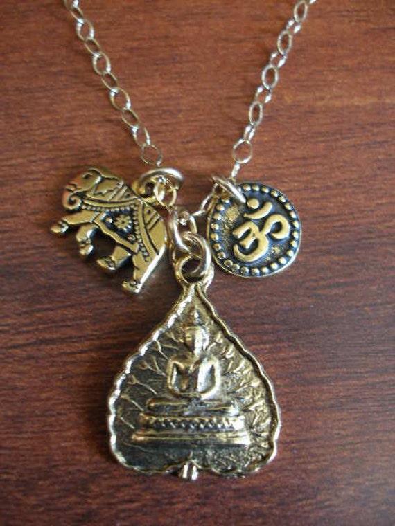 India Elephant Gold Buddha Goddess and OM Aum Necklace  Eat Pray Love